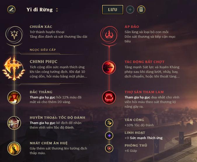 Bảng bổ trợ Master Yi đi Rừng - sử dụng nhiều