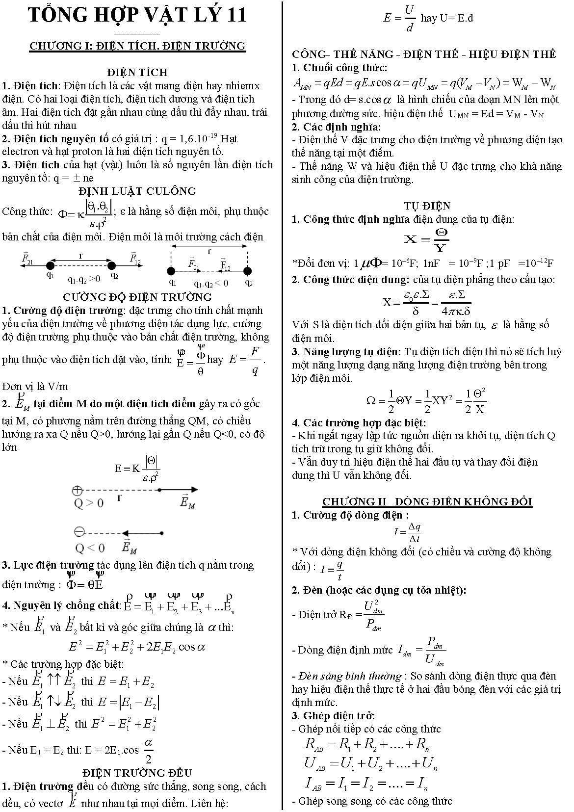 Công thức vật lý 11 nâng cao