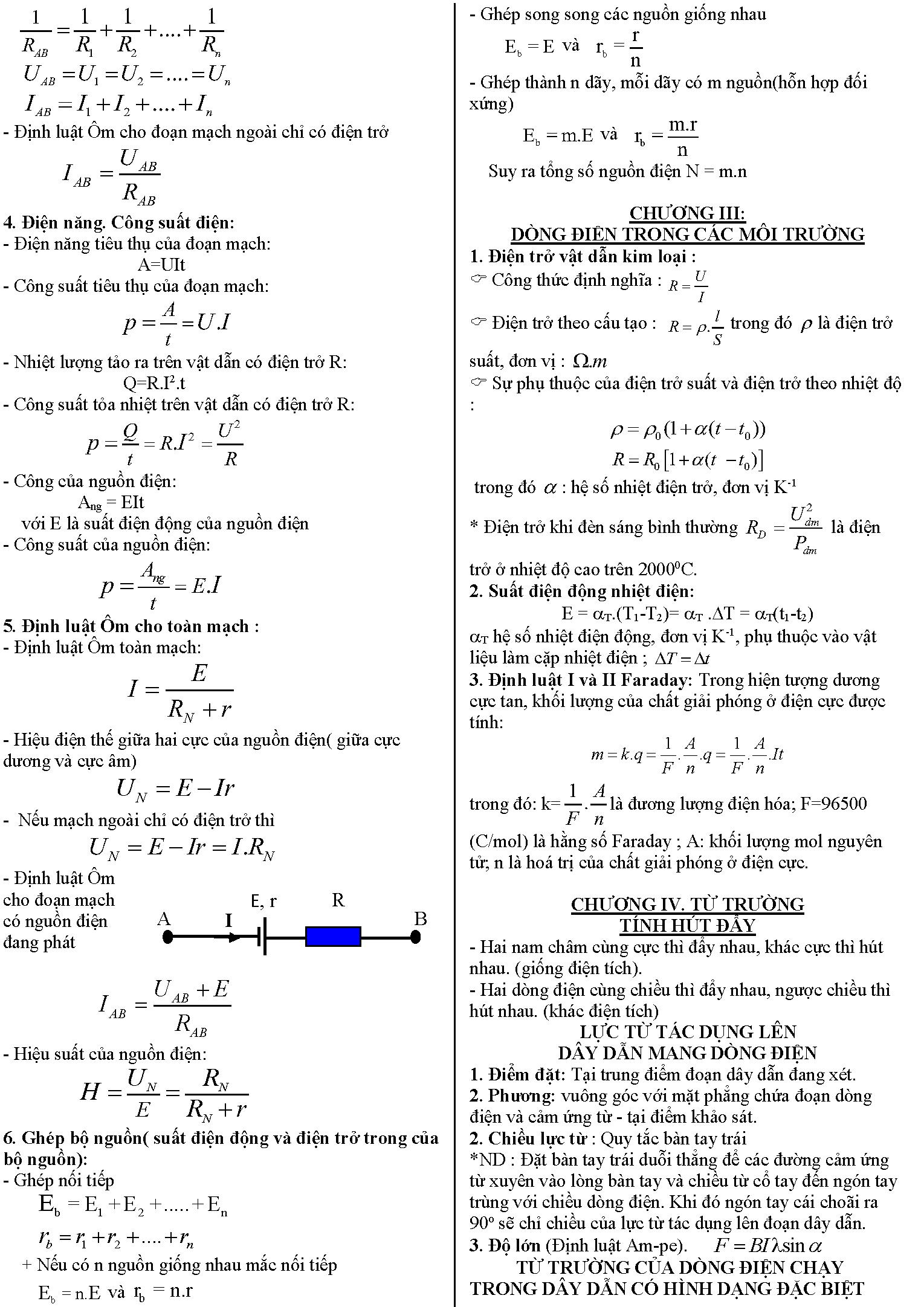 Công thức tính nhanh Vật lý 11 học kì 1