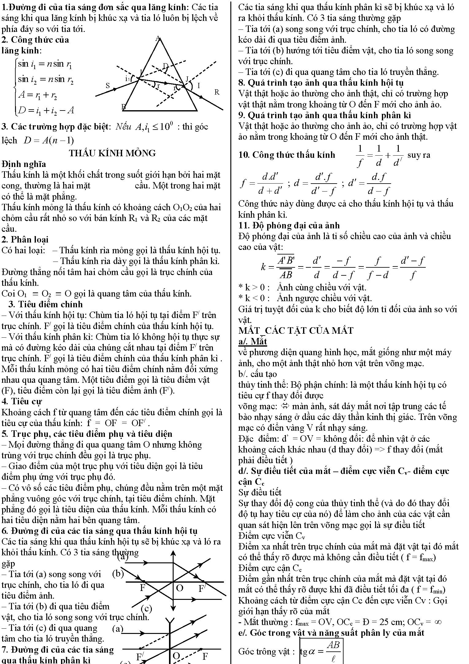 Tất cả các công thức lý 11 học kì 2
