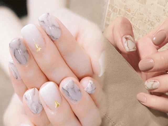 Làm nail kiểu họa tiết vân đá đầy ấn tượng