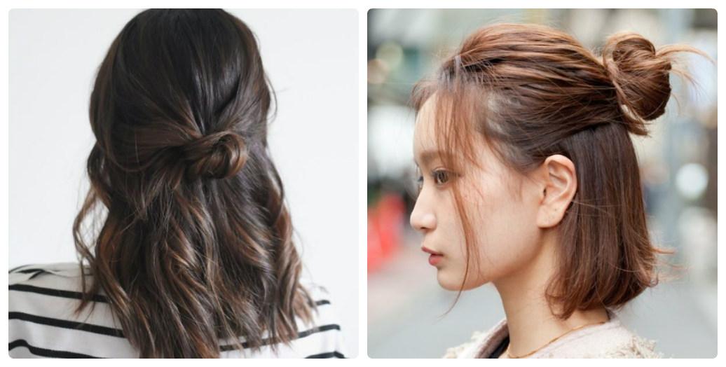 Cách búi tóc nửa đầu cho tóc ngắn lựa chọn an toàn cho các cô nàng mặt vuông
