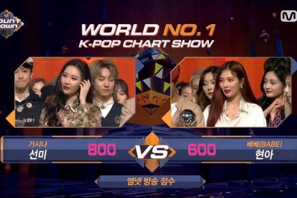 Hyuna chúc mừng chiến thắng của Sunmi trong M Countdown 79