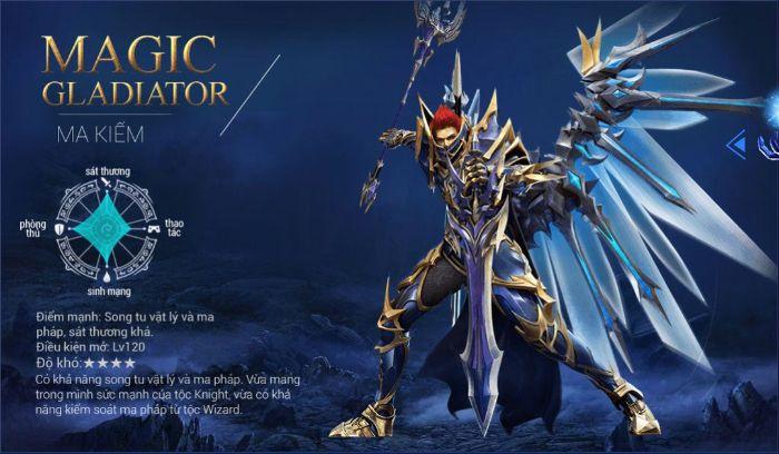 Magic Gladiator là một ma kiếm sĩ mang trong mình dòng máu nửa người nửa ma