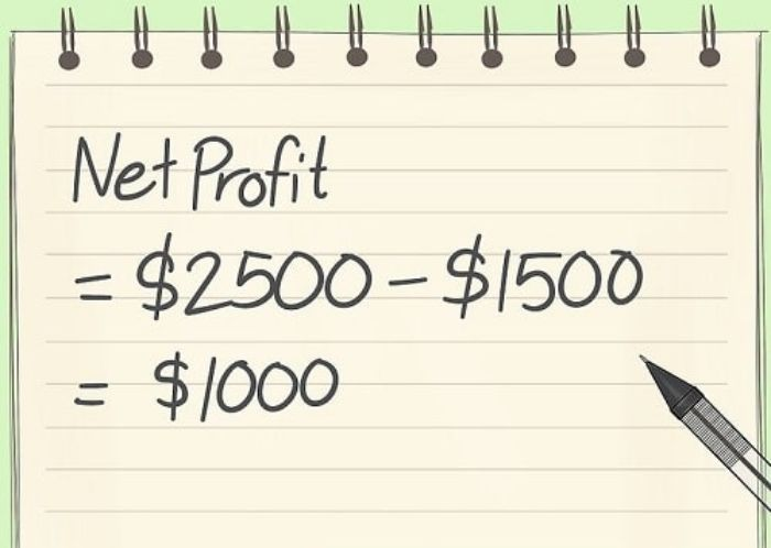 Lợi nhuận ròng bằng lợi nhuận trừ đi các khoản chi phí và thuế